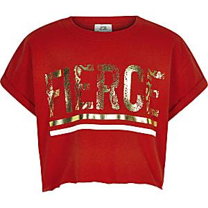 Rood T-shirt met 'Fierce'-print voor meisjes