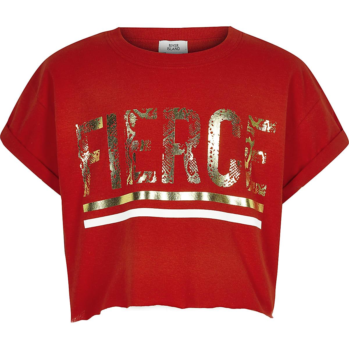 Girls red 'Fierce' T-shirt