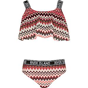 Bikini imprimé zigzags rose fluo pour fille