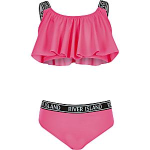 Bikini rose fluo pour fille