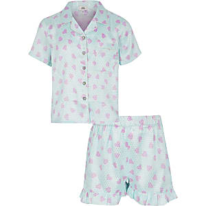 Girls blue satin printed pyjama set