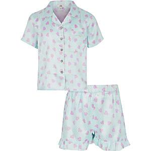 Blauer Satin-Pyjama mit Print