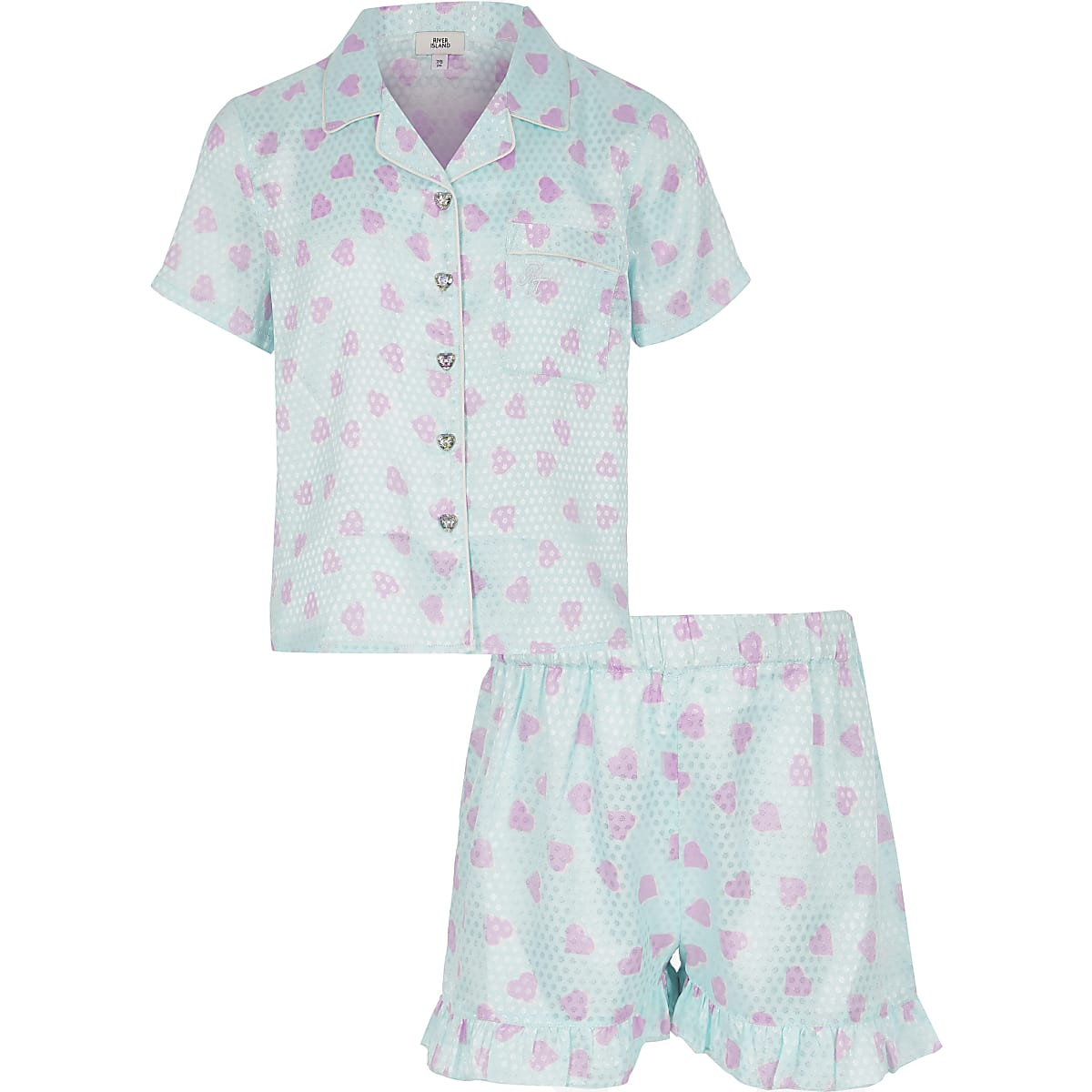 Girls blue satin printed pyjama set