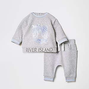 Baby grey tiger print jogger outfit