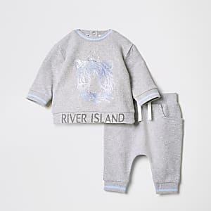 Grijze joggingoutfit met tijgerprint voor baby's