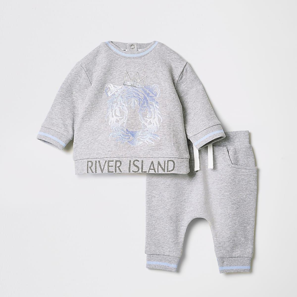 Baby grey tiger print jogger outfit
