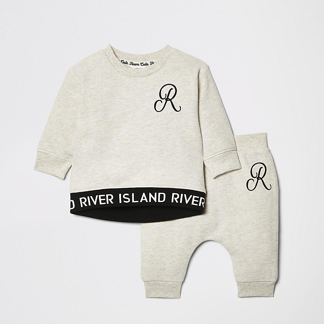 Outfit met crème sweatshirt met RI-logo voor baby's