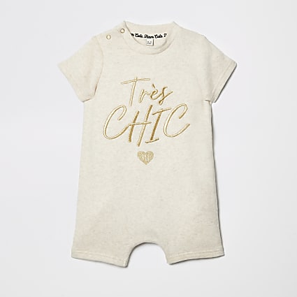 Baby cream embroidered romper