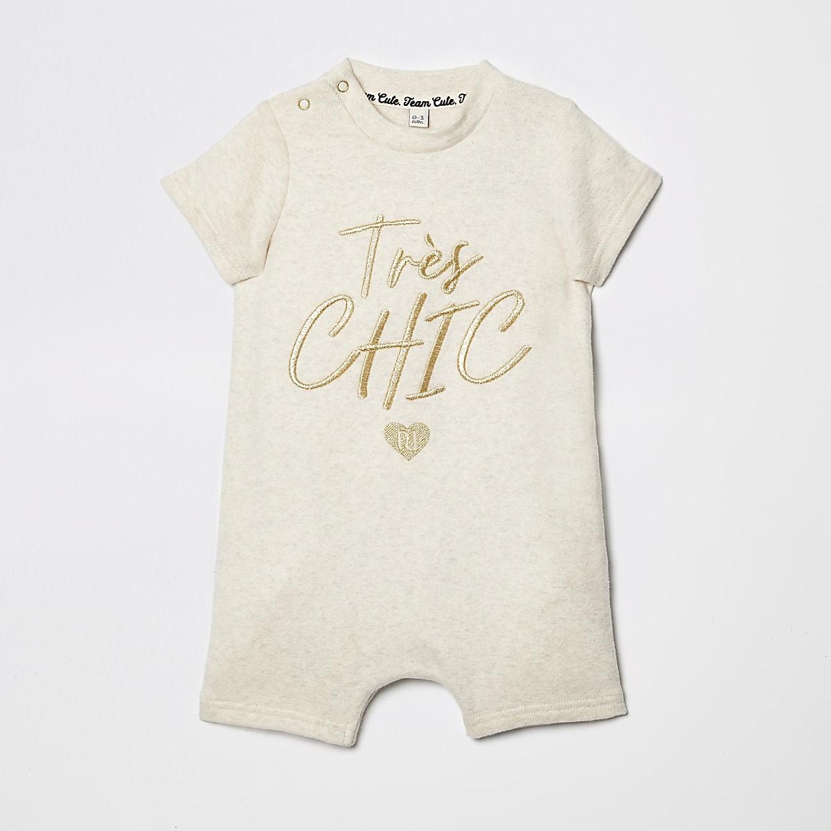 Baby cream embroidered romper