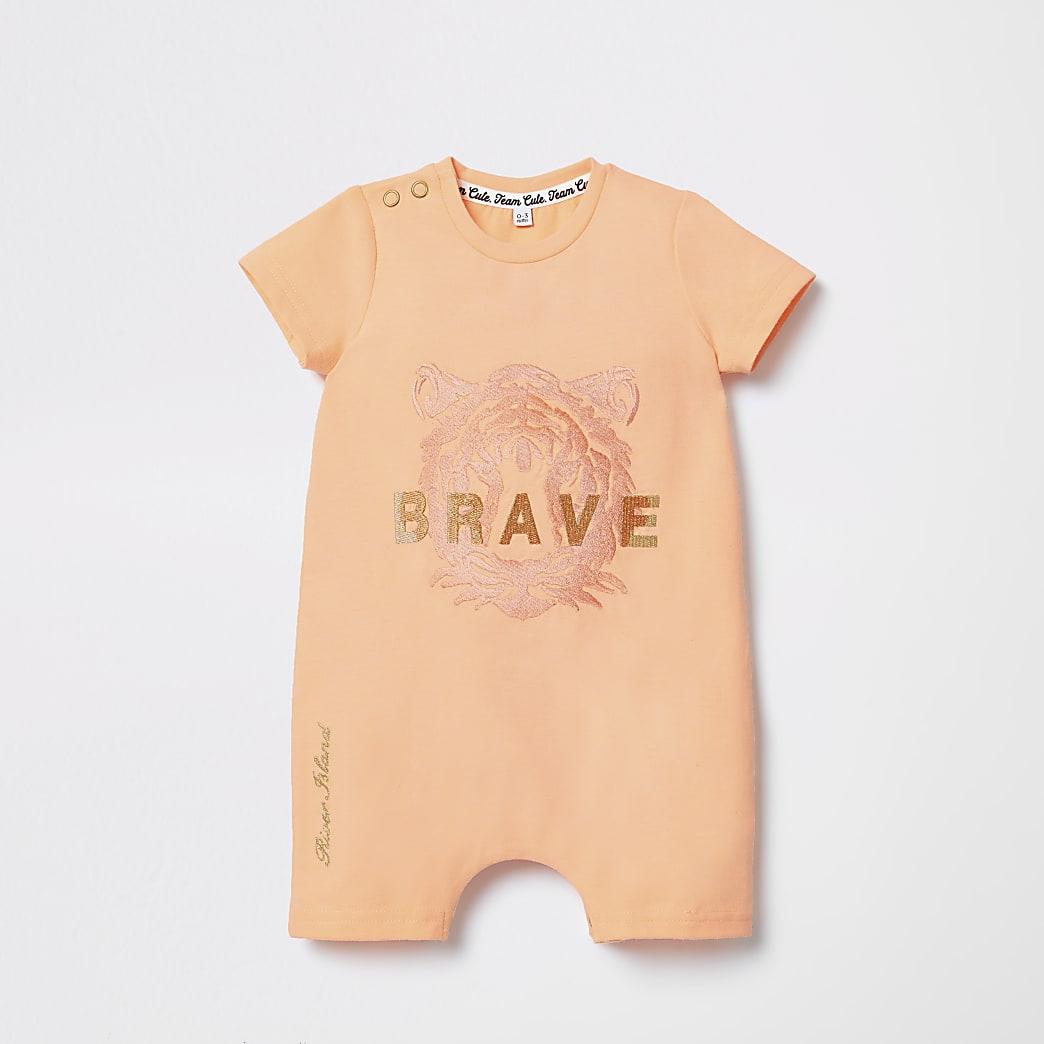 Baby orange tiger print romper