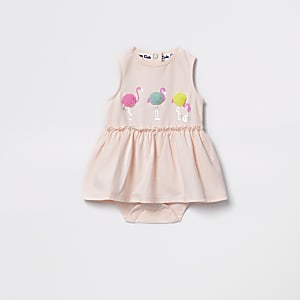 Baby pink flamingo romper dress