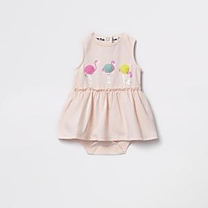 Baby pink flamingo romper dress