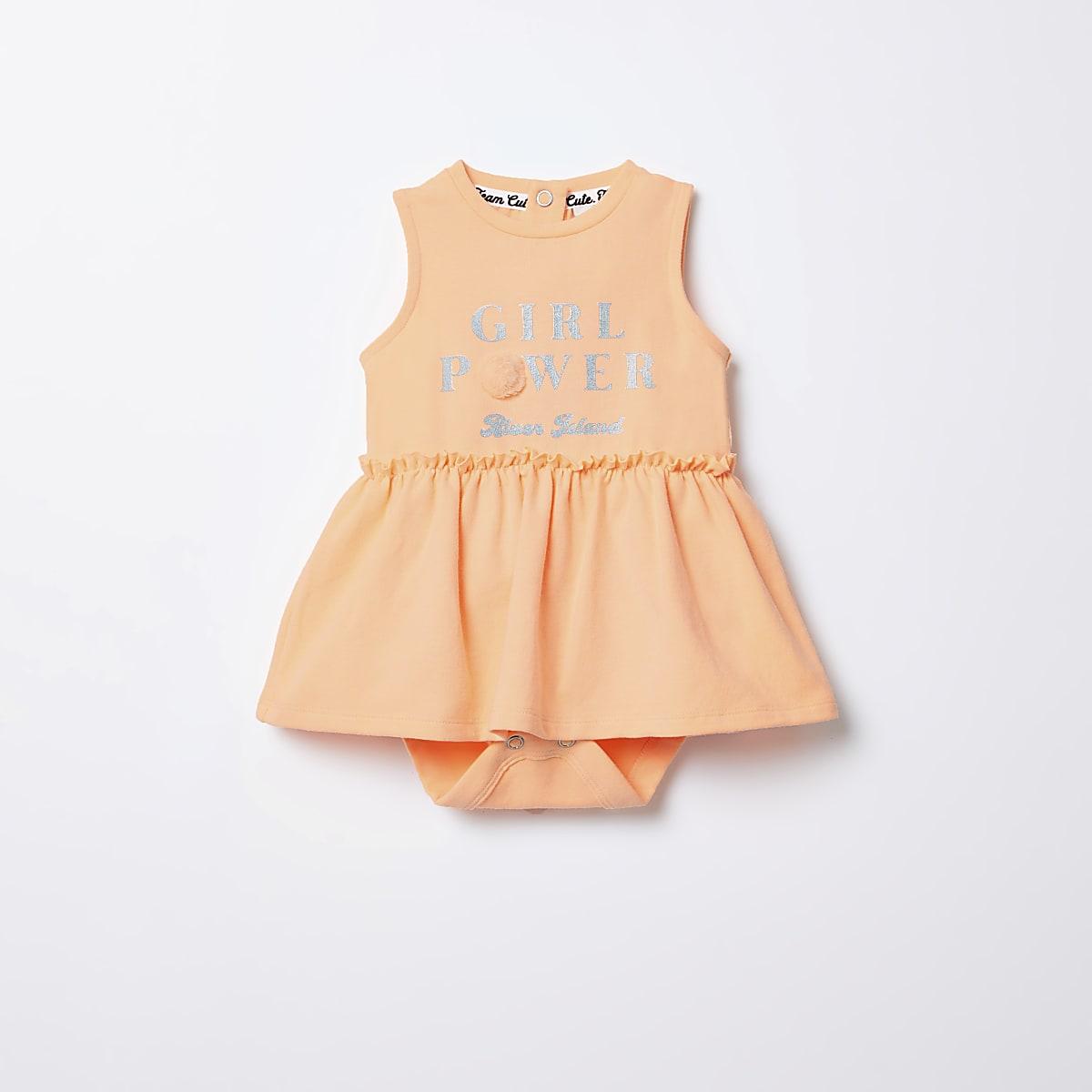 Baby orange 'Girl Power' romper dress