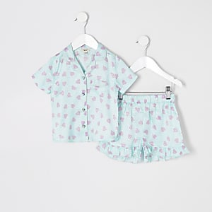 Blauer Satin-Pyjama mit Druck