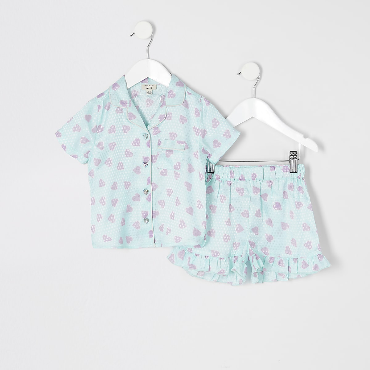 Mini girls blue satin printed pyjama set