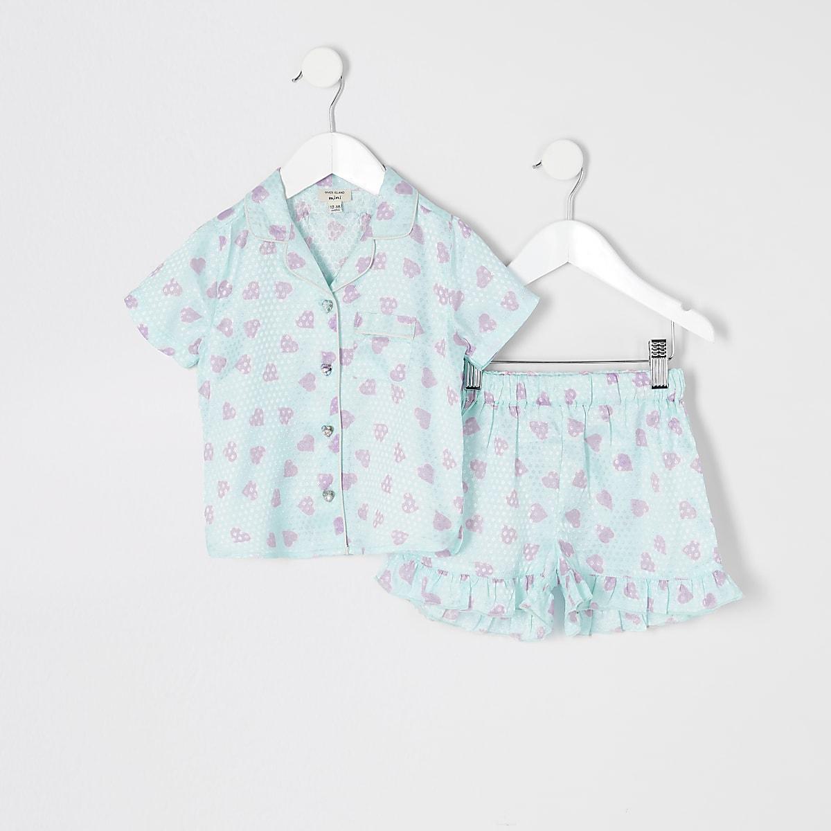 Mini - Blauwe satijnen pyjamaset met print voor meisjes