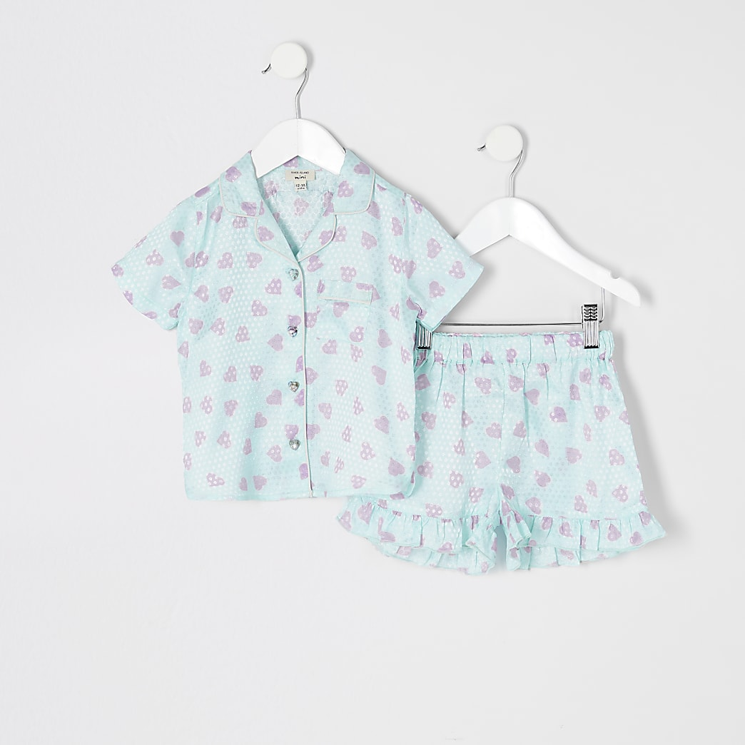 Mini girls blue satin printed pyjamas