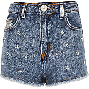Annie - Blauwe versierde short met hoge taille voor meisjes