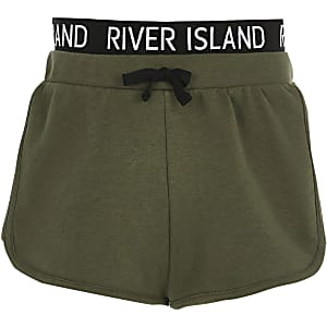 Girls khaki RI waistband runner shorts