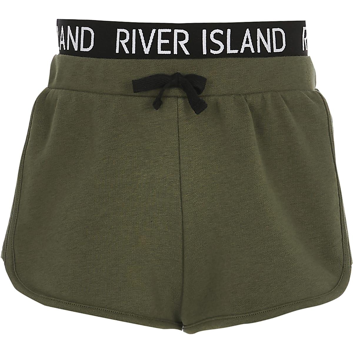 Girls khaki RI waistband runner shorts