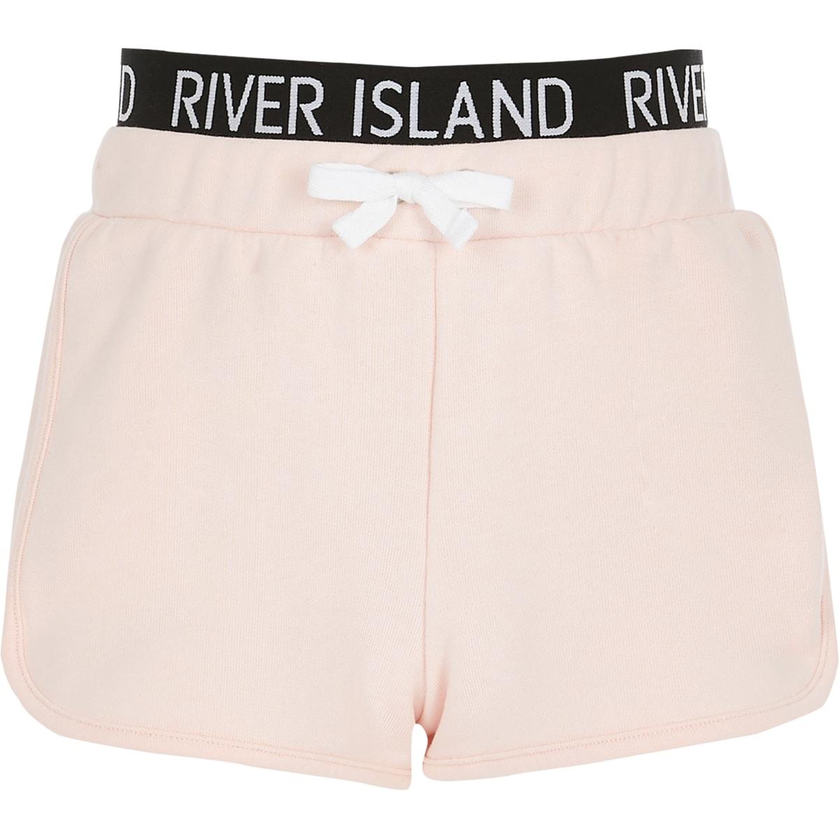 Girls pink RI waistband runner shorts