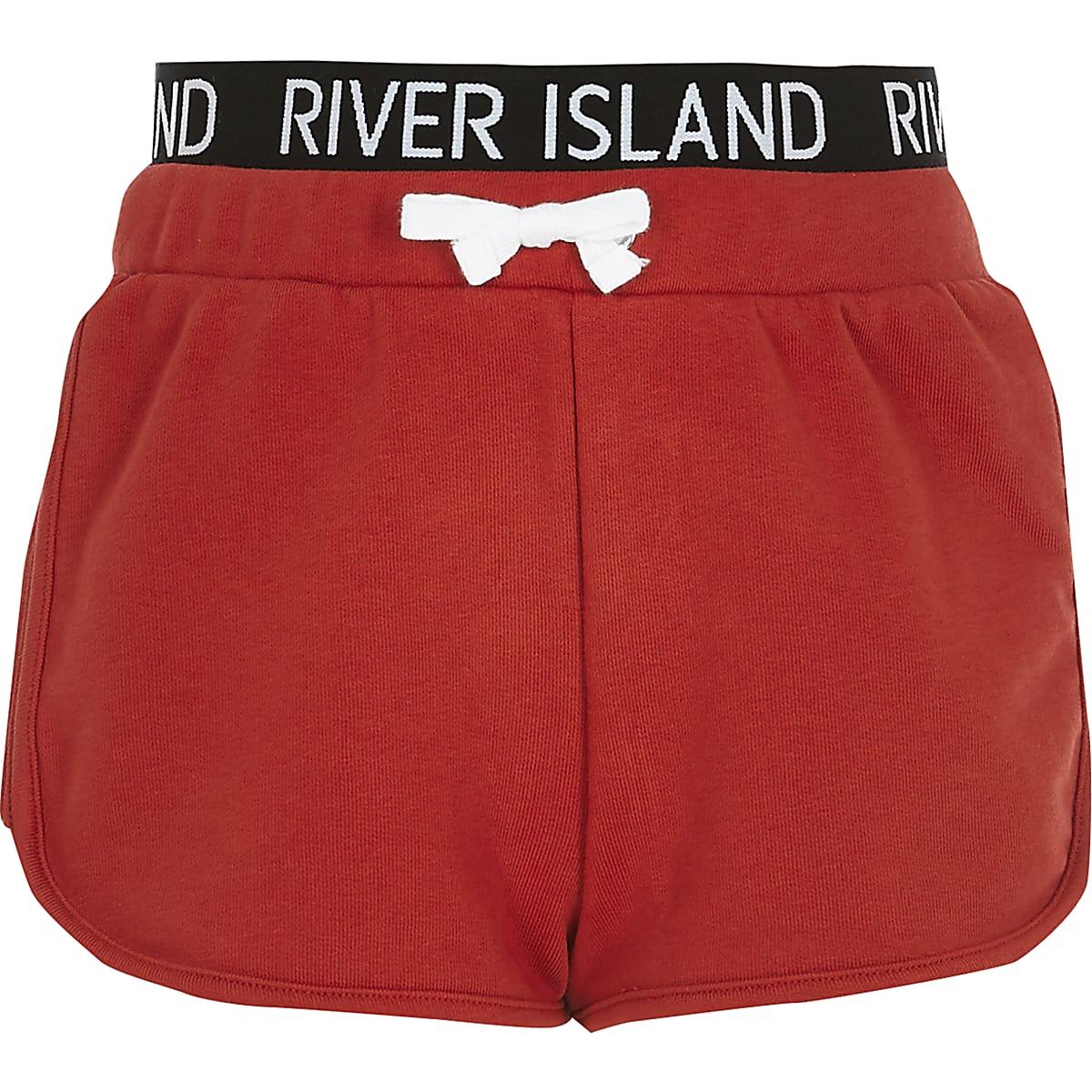 Girls red RI waistband runner shorts