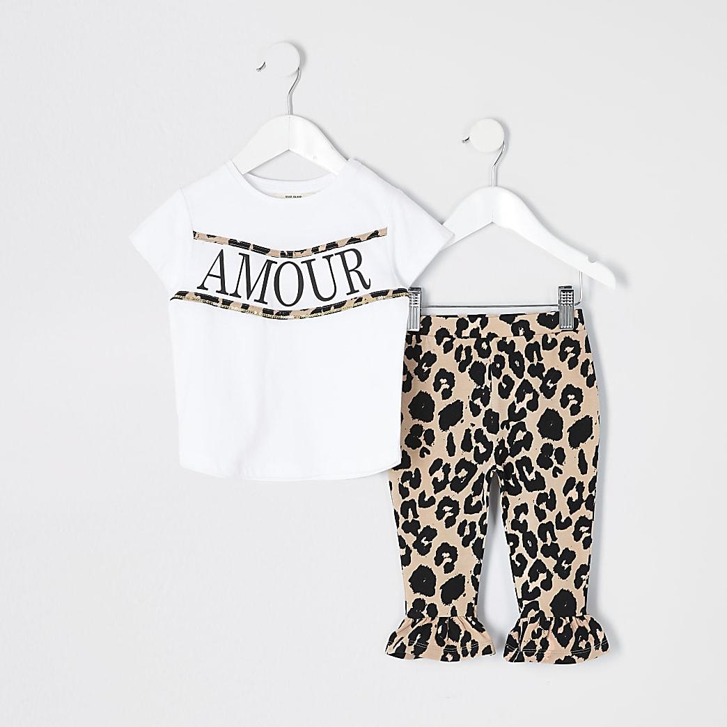 Mini - Outfit met wit T-shirt en luipaardprint voor meisjes