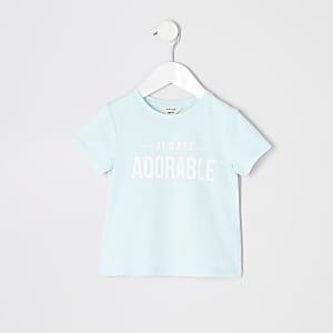 Mini - Blauw T-shirt met 'Always adorable'-print voor meisjes