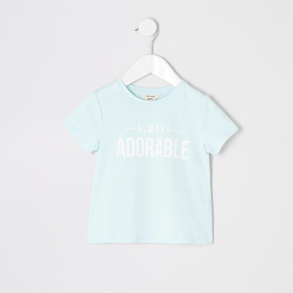 Mini girls blue 'Always adorable' T-shirt