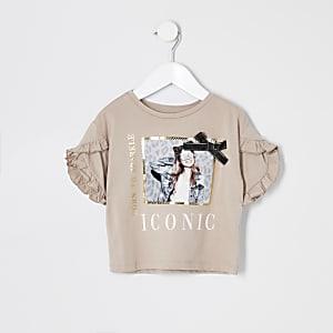 Mini - Beige T-shirt met print en strik voor meisjes