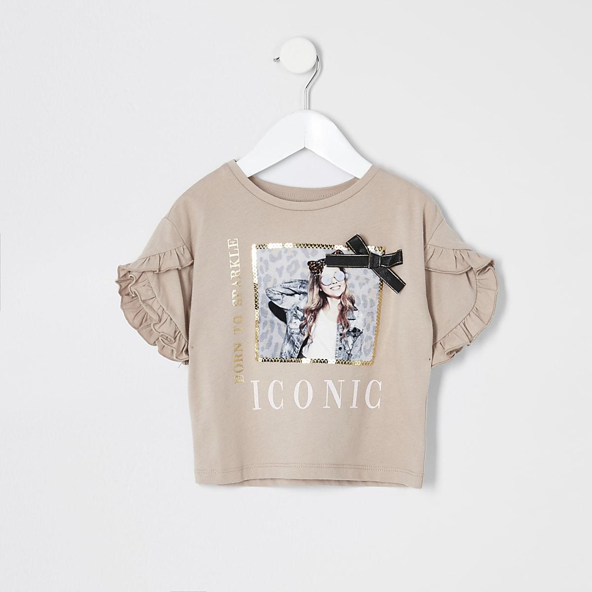 Mini girls beige printed bow T-shirt
