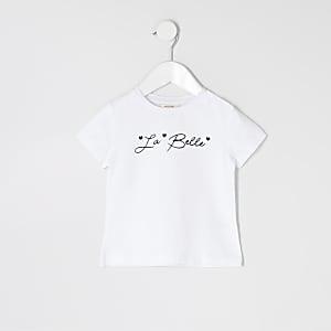 Mini girls white 'La belle' print T-shirt