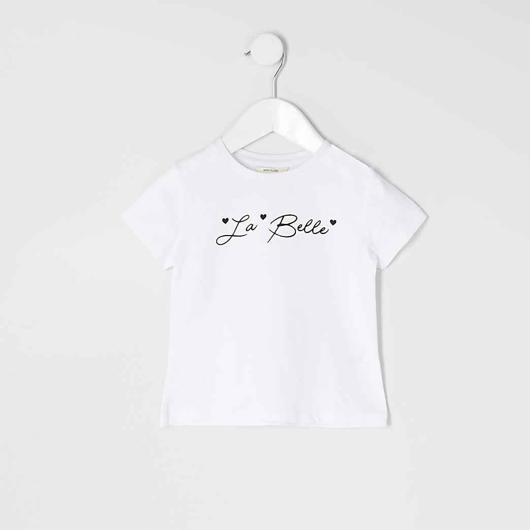 Mini - Wit T-shirt met 'La belle'-print voor meisjes