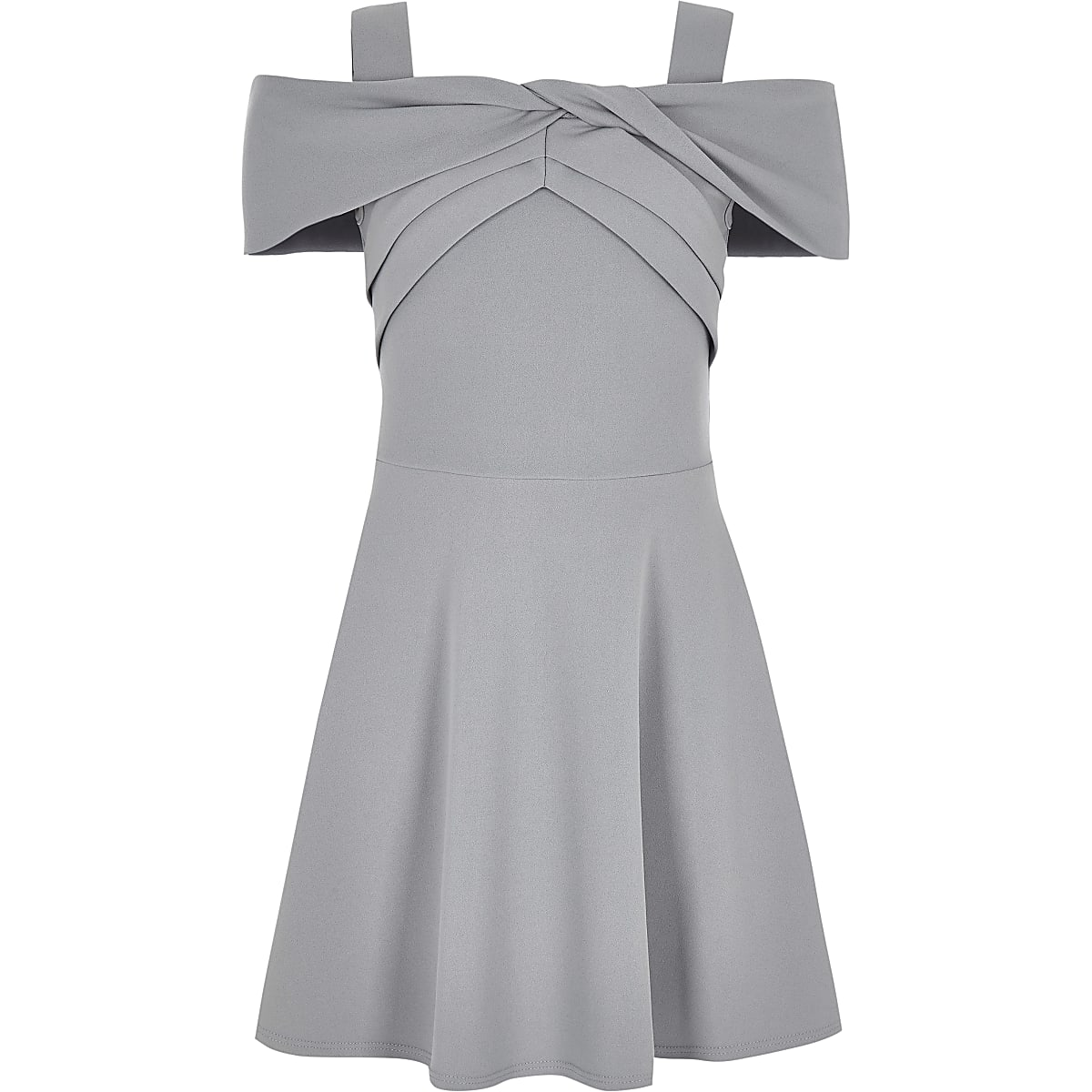 Girls grey bardot skater dress