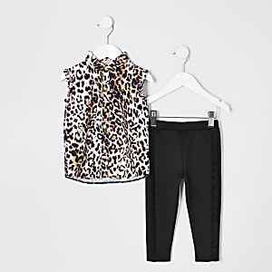 Mini girls pink leopard print shirt outfit