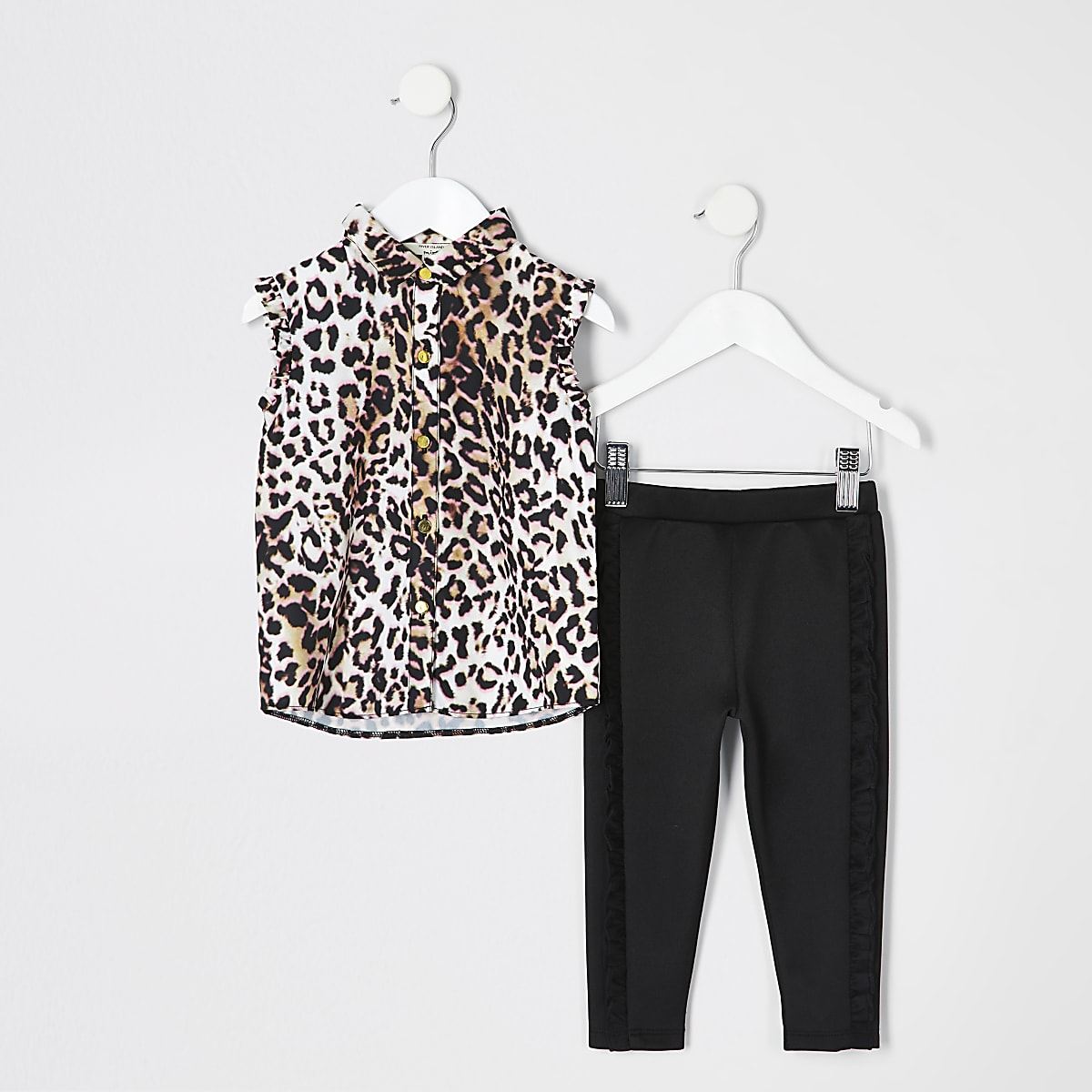 Mini girls pink leopard print shirt outfit
