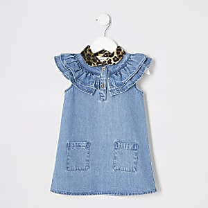 Mini girls leopard print collar denim dress