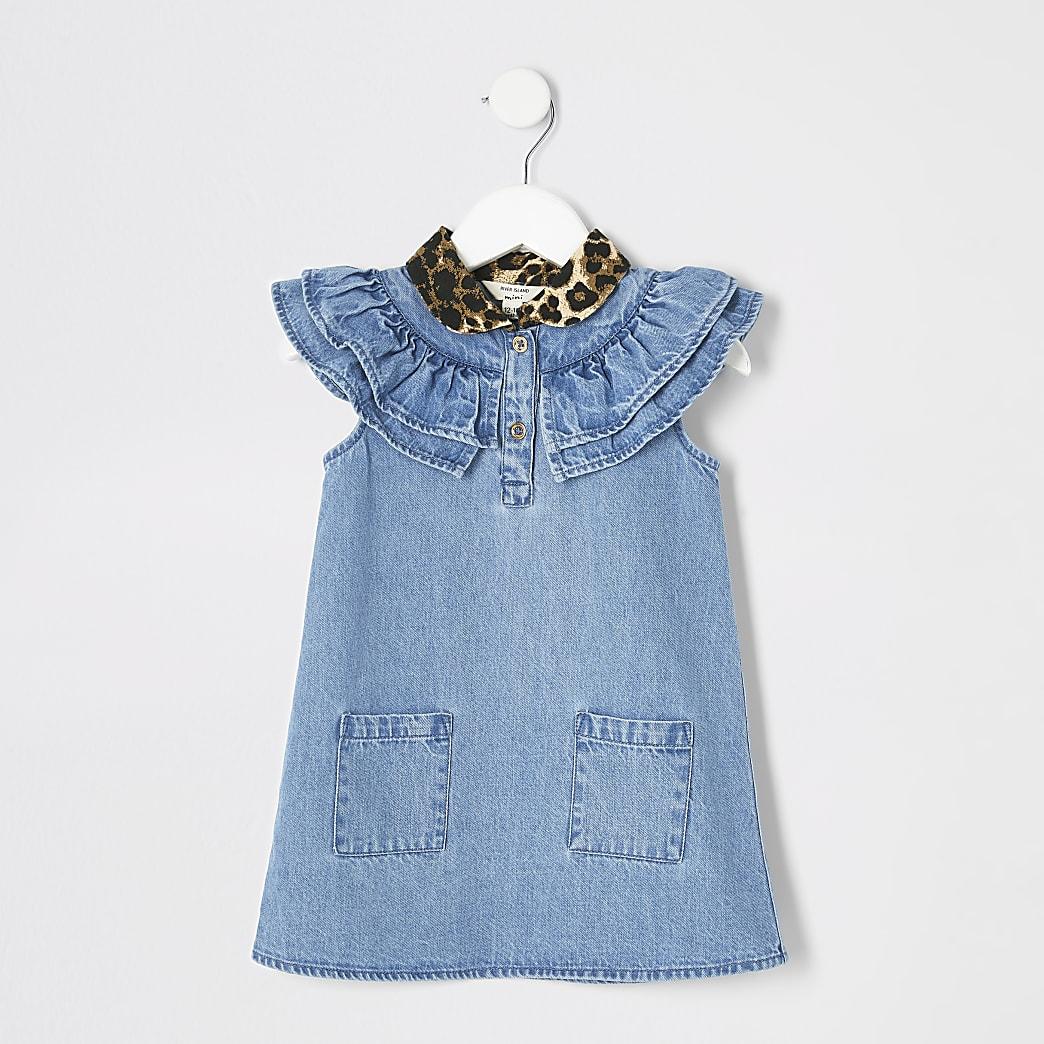 Mini girls leopard print collar denim dress