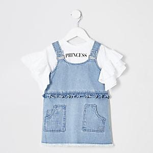 Mini girls denim acid wash pinafore outfit