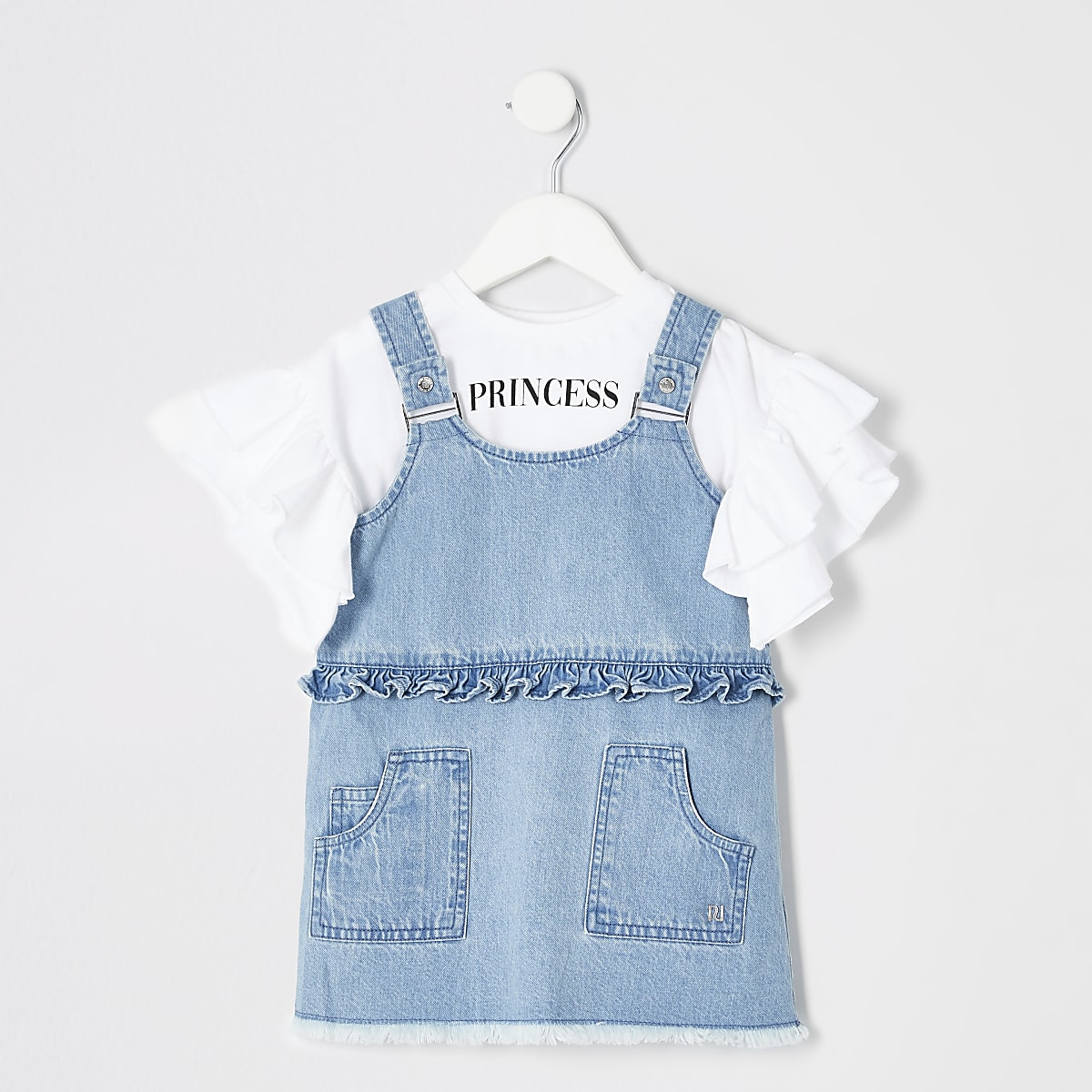 Mini girls denim acid wash pinafore outfit