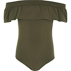 Khaki ruffle bardot bodysuit