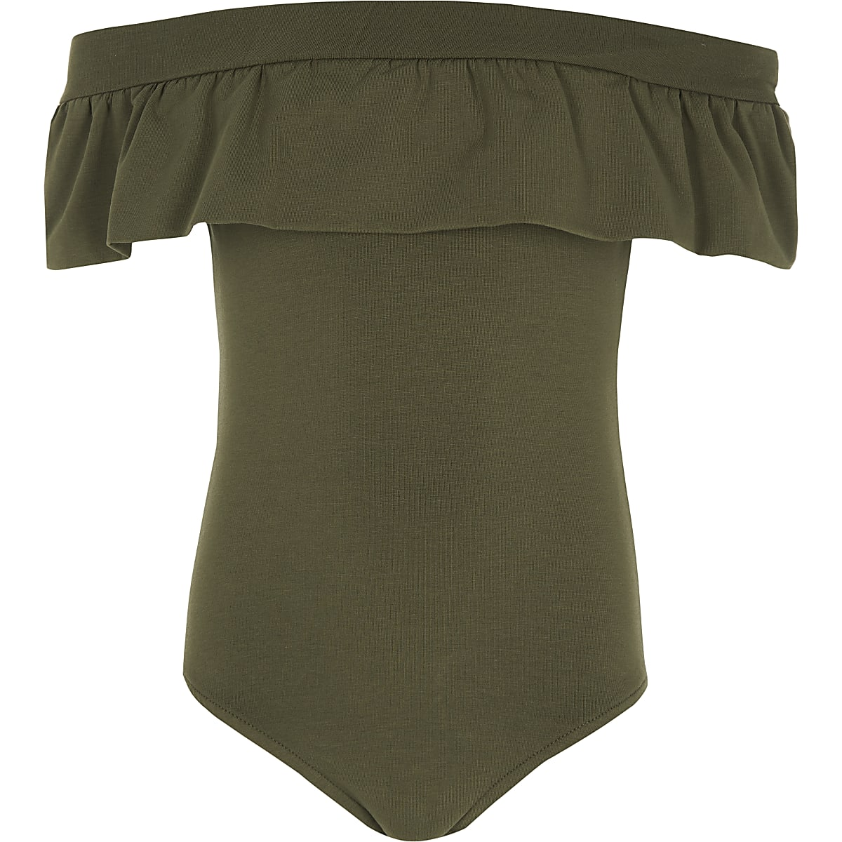 Girls khaki ruffle bardot bodysuit