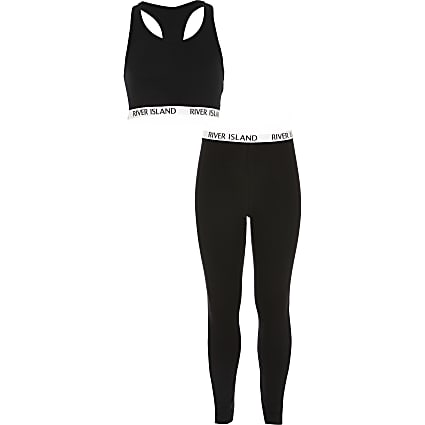 Girls black crop top and legging outfit