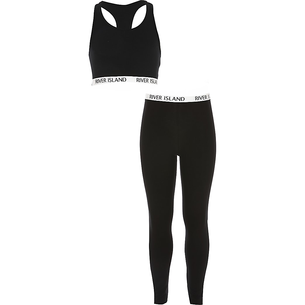 Girls black crop top loungewear set