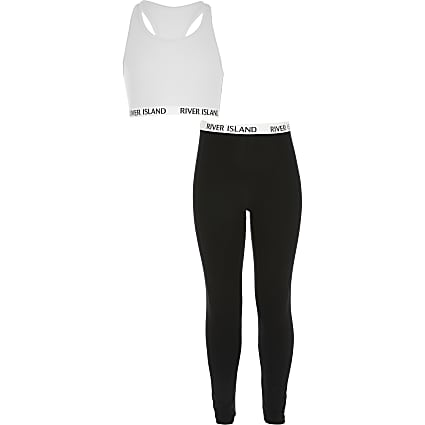 Girls white crop top loungewear set