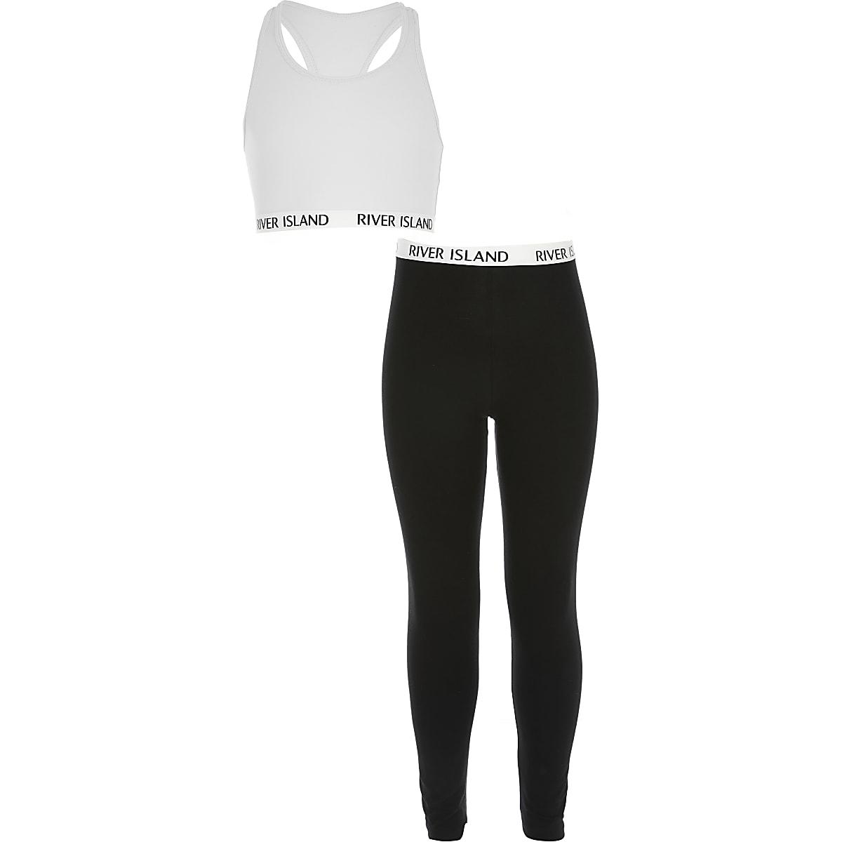 Outfit met witte crop top en legging voor meisjes