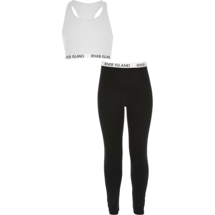 Girls white crop top and legging outfit