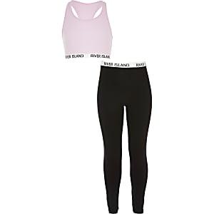 Outfit met roze crop top en legging voor meisjes