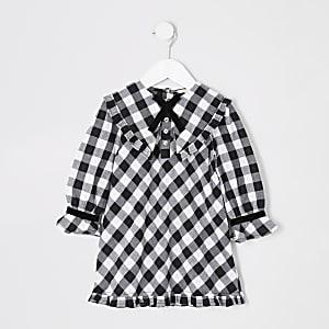 Robe trapèze à carreaux vichy noire Mini fille