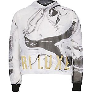 RI Active - Zwarte hoodie met mesh en marmereffect voor meisjes